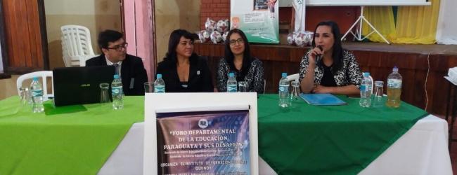 PARTICIPACIÓN DE REPRESENTANTE DE LA ANEAES EN EL PRIMER FORO DEPARTAMENTAL SOBRE LOS DESAFÍOS DE LA EDUCACIÓN SUPERIOR, EN QUIINDY, PARAGUARI